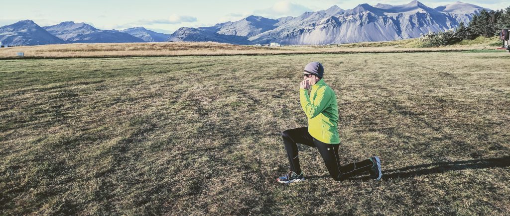 A chilly pre-run warm up in Höfn, Iceland