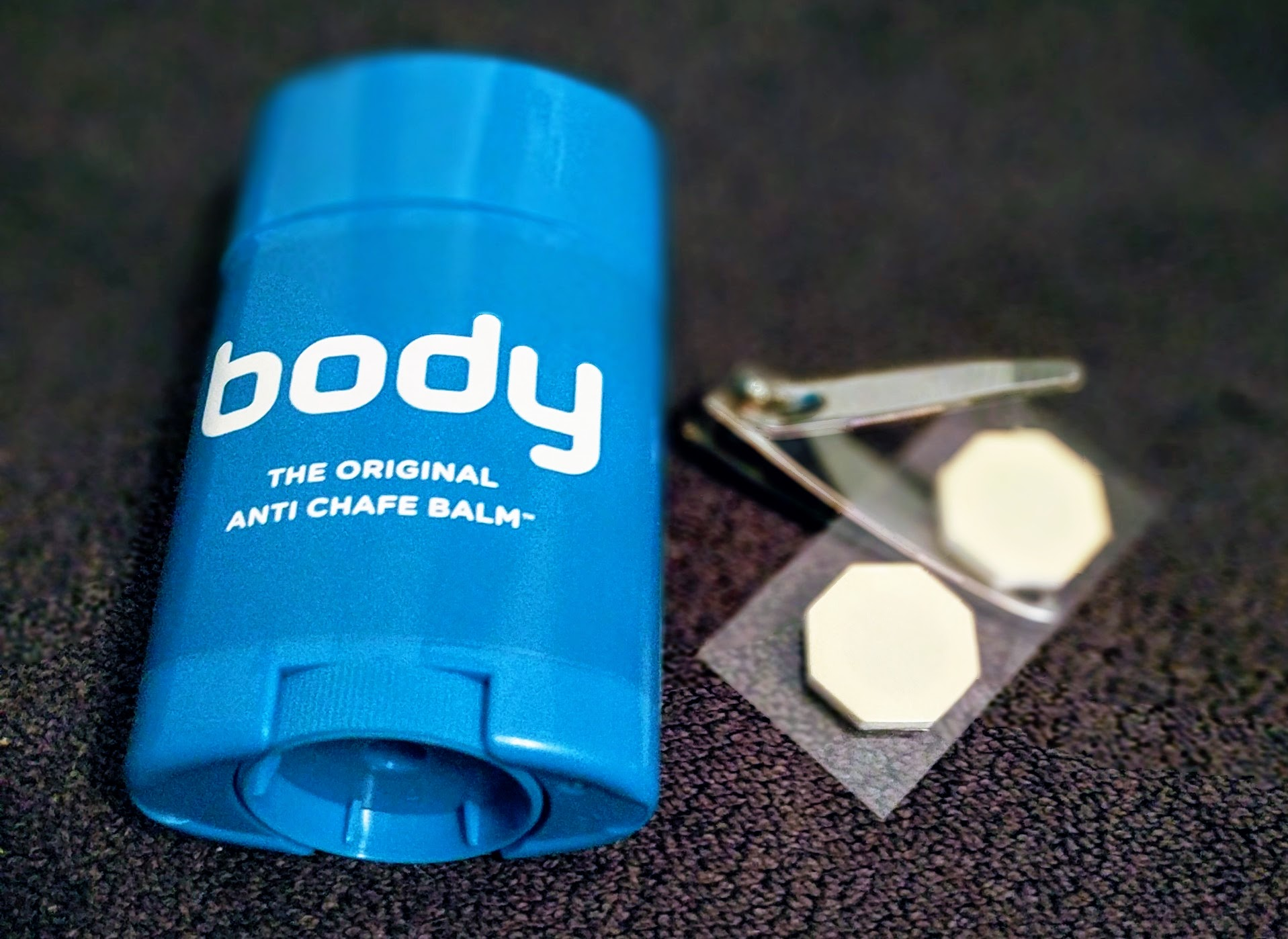 Body Glide with nipple guards and nail clippers