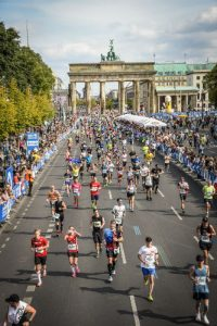 The Brandenburg Gate viewed from the Berlin Marathon finish line.